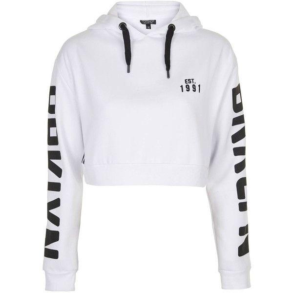TopShop Brooklyn Sports Hoodie (195 BRL) ❤ liked on Polyvore featuring tops, hoodies, hoodies and sweaters, jumpers, white, sport hoodie, sweatshirt hoodies, sport top, white top and white hooded sweatshirt