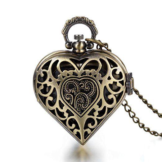 JewelryWe Steampunk Damen Herren Taschenuhr Herz Medaillon Design Uhranhänger Quartz Kettenuhr Uhr Halskette