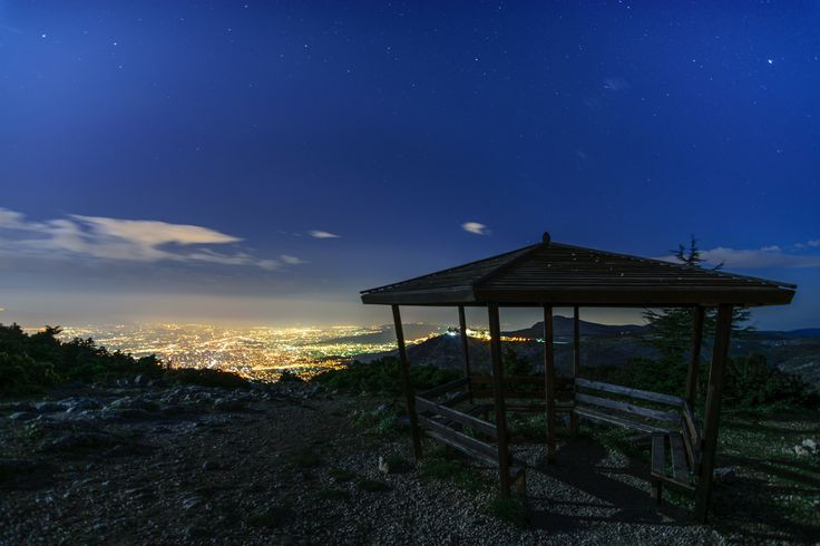 Moonlit Night - This shot was taken on mount Parnitha at Flabouri refuge.