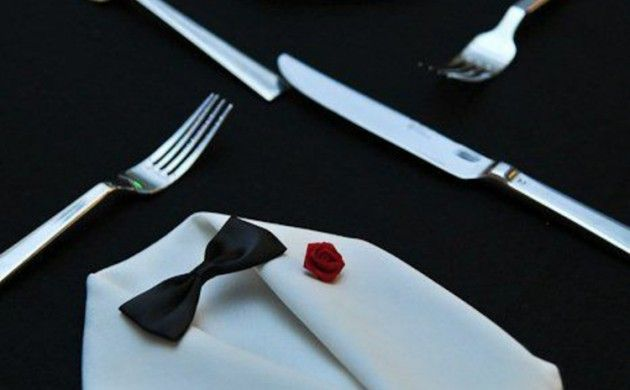 Servietten falten Anleitung Anzug Tischdeko Stoffservietten falten