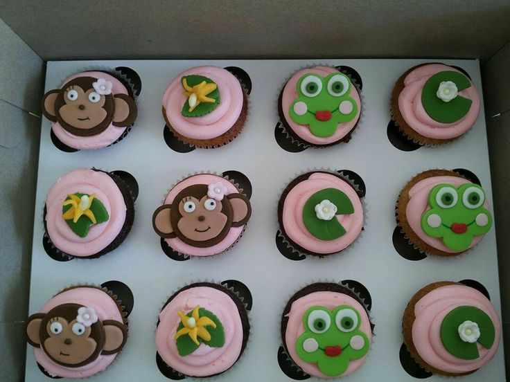 Monkey and froggie cupcakes
