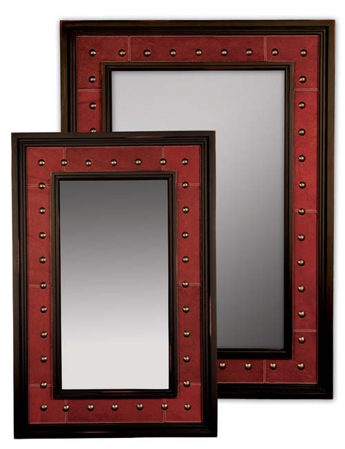 Red Leather Western Mirror Western Mirrors