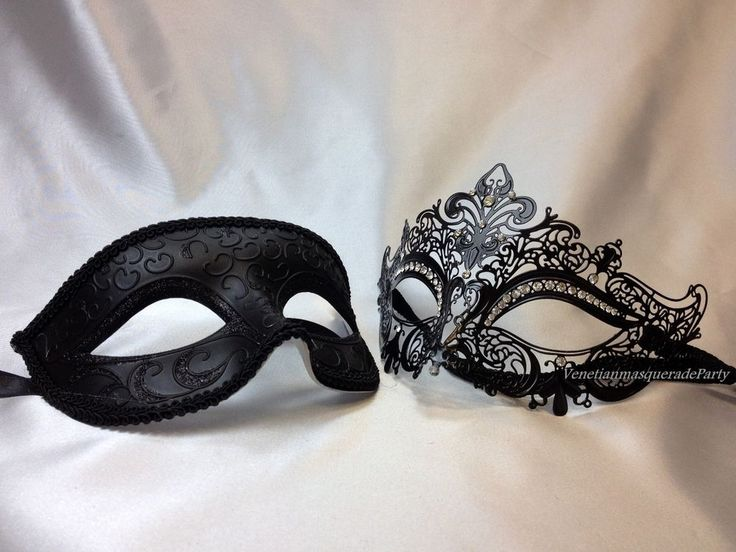 His and Hers Masquerade mask pair for couple Mardi Gras engagement wedding party #Handmade