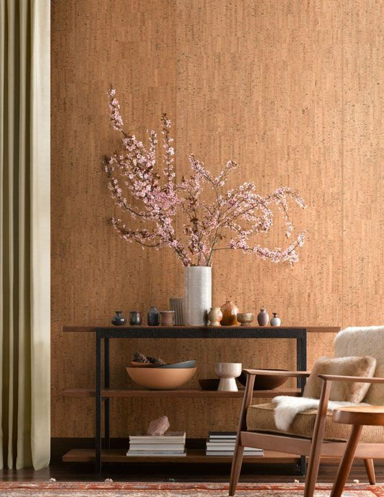 A traditional, natural cork wall covering lends itself well to mid-century modern decor.