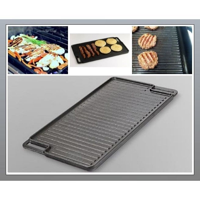 Cast Iron Grill Griddle Pan Reversible Skillet Plate Double Side Burner Cookwere #EssentialHome