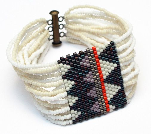 Textile swatch bracelet - Ivory Navajo
