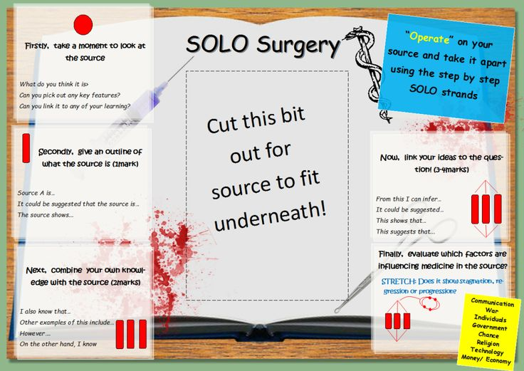 SOLO Source Analysis Overlay - This overlay is to be used to analyse picture/ written sources. I have made it with my AQA Medicine through Time module (particularly 4mark Q's) in mind, so I have assigned each SOLO stage with a mark, but this can be easily edited. http://twitter.com/jamieclark85 was a huge inspiration in my creating this resource. I used his poetry overlay as a template on which I based my idea.