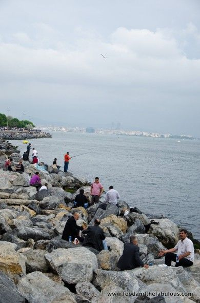 locals picnicking on the rocks, Istanbul