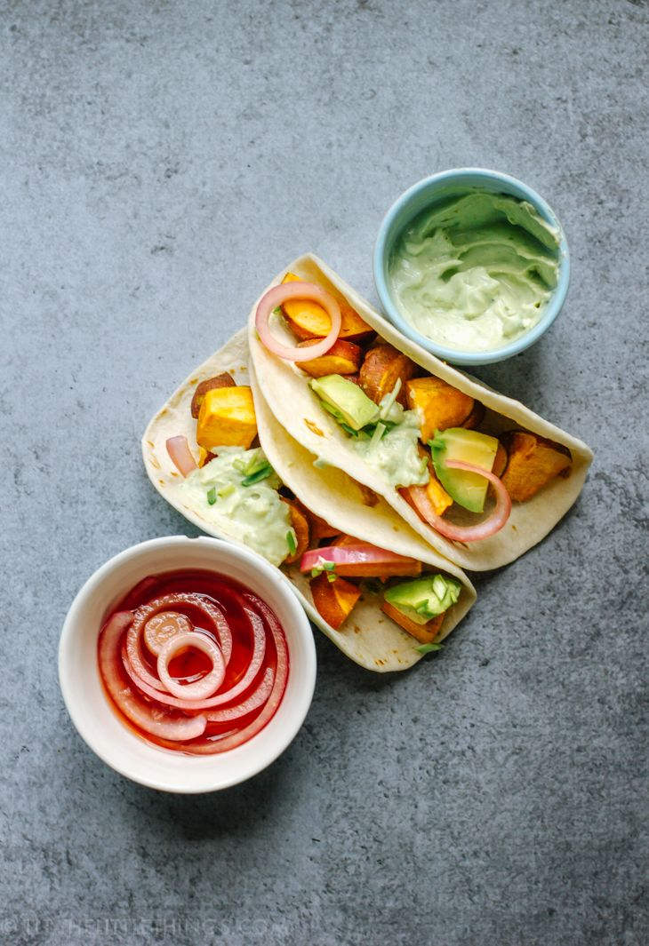 TLT - The Little Things | Sweet Potato Tacos with Avocado and Red Onion | http://tlt-thelittlethings.com