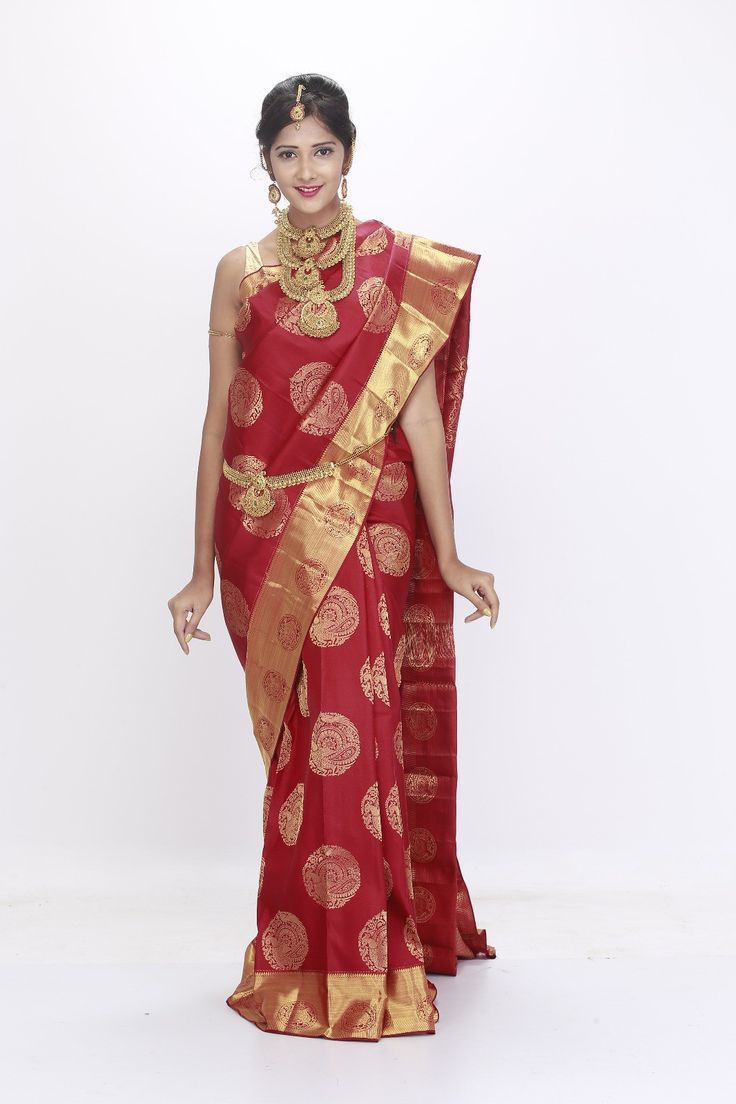 00BRID5028 - 1 gram gold maroon wedding saree with gold border