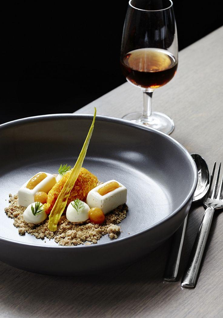 Carrot Halwa, Cinnamon-Walnut Crumble, Cream Cheese Ice Cream, Whipped Mascarpone, Apricot Coulis. #plating #presentation