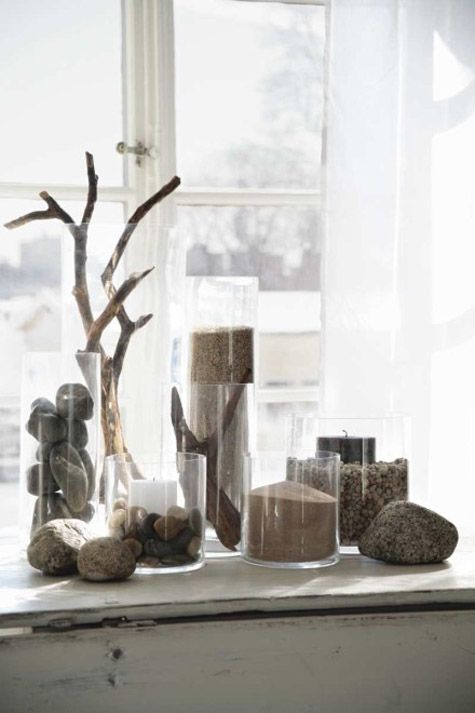 Use stones as part of a nature display on a table, nook, or mantel. Source