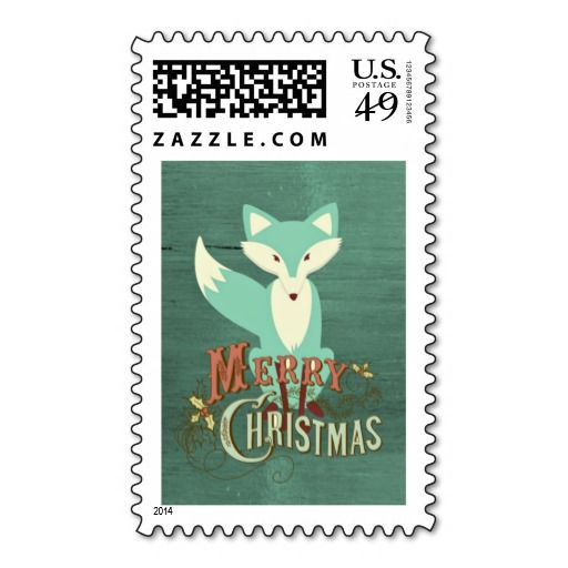 Teal Fox Merry Christmas Postage Stamps #christmasstamps