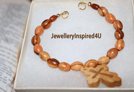 Olive Wood Cross Bracelet. Natural Beaded by JewelleryInspired4U
