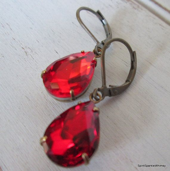 Red Rhinestone Earring, Red Earring, Ruby Earring, Garnet Earring, Rhinestone Earring