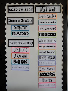 I like the Word Work idea of having it posted up on the board for students to reference. They usually forget what is in the boxes on the shelf...perhaps if I'd LABEL them. lol