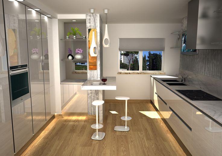 Render di una cucina con anta laccata bianco lucido