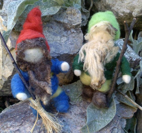 Two Autumn Gnomes Working in the Garden -  Needle Felted  - Waldorf Nature Table