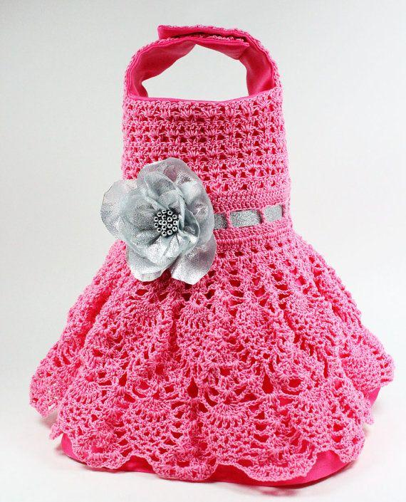 Pink Crochet Dog Dress size Small by MaxMilian on Etsy
