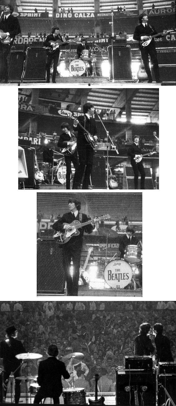 26th June 1965. The Beatles performing at the Palazzo dello Sport, Genoa, Italy.