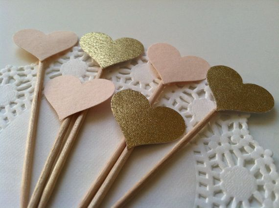 20 BLUSH & GOLD Ready To Ship Heart Cupcake Toppers.Food Picks. Weddings, bridal or baby showers, bachelorette, birthdays.Cotton Card Stock....