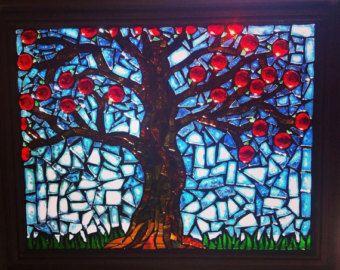 Mosaic Glass Apple Tree