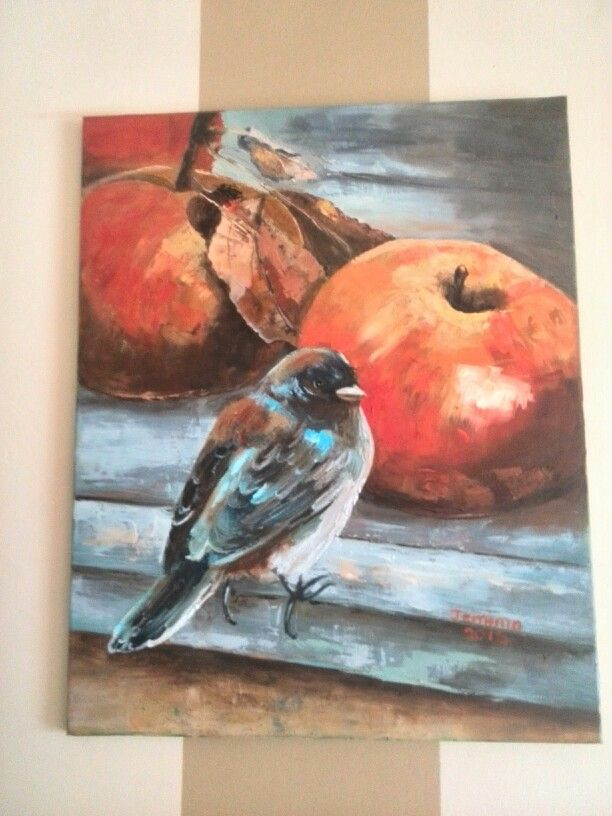 Apples and a lovely Cape Sparrow. Artist Jemima.