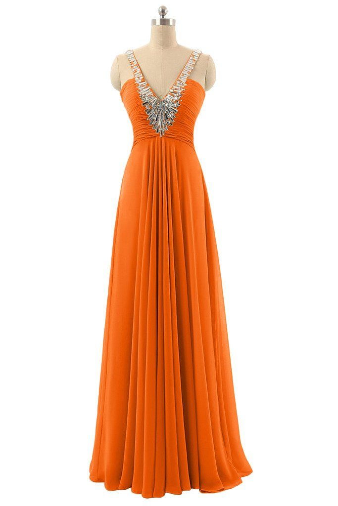 DINGZAN Chic Chiffon Long Bridesmaid Dresses for Wedding Guest Formal Wear Gowns 20 Orange