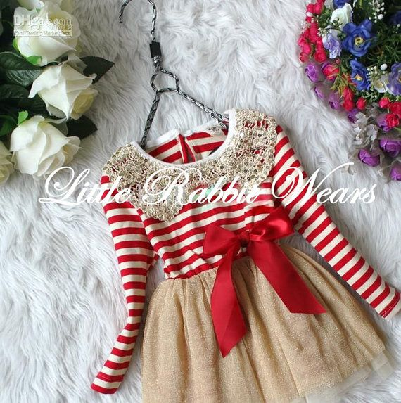 The Lisa- Baby girl toddler boutique red white and gold striped bow long sleeve fall winter christmas tutu party dress