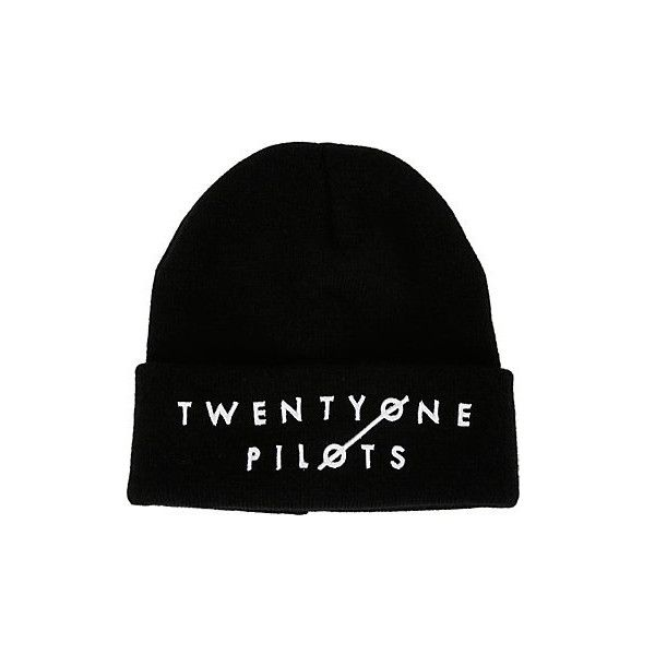 Twenty One Pilots Logo Watchman Beanie | Hot Topic (18 CAD) ❤ liked on Polyvore featuring accessories, hats, beanies, 1920s hat, black knit hat, embroidered hats, black beanie and logo hats