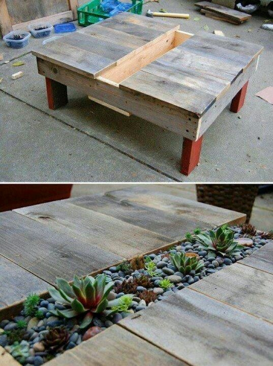 Pallet table with small garden