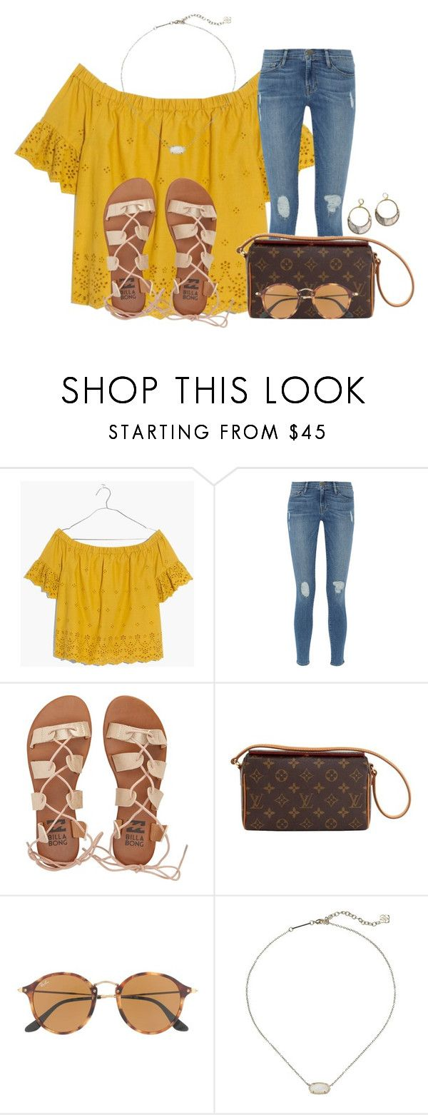 """~ yellow submarine~"" by annaewakefield ❤ liked on Polyvore featuring Madewell, Frame, Billabong, Louis Vuitton, Ray-Ban and Kendra Scott"