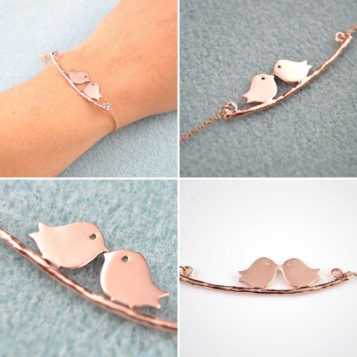Rose Gold Love Birds Dainty Bracelet