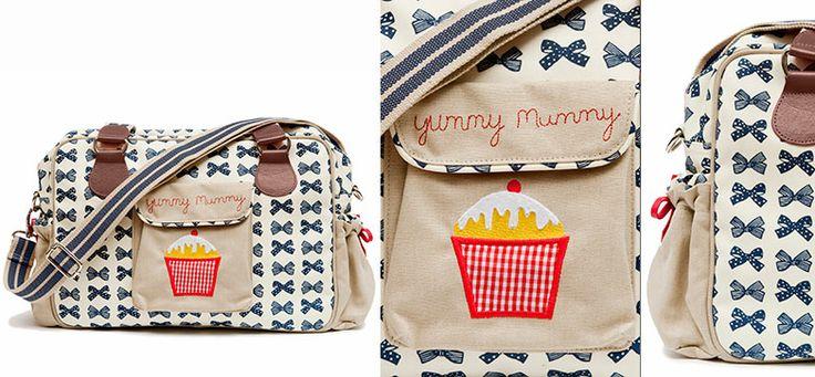 Yummy Mummy Wickeltasche Navy Bows aus der Kategorie Pink Lining von Mamarella - Details
