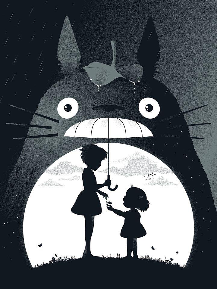 Totoro dessin silhouettes noires trop beaaauw *Q*