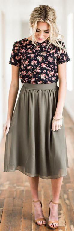 Olive Chiffon Skirt