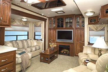 The inside of a 5th wheel camper...wouldn't it be nice! We will have one for our families hunting and travel needs! :-)