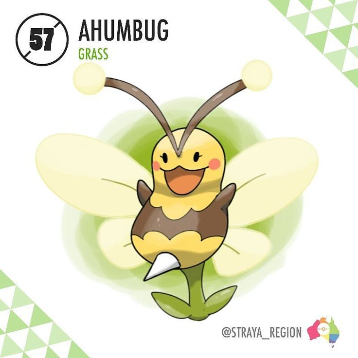 Here is the new Bug type Pokémon of the region...*ahem* - 057: Ahumbug (ahem + humbug) The False Bee Pokémon Type: Grass Ability: Imitate/Rattled (HA) Evolves from Germini starting at Lv. 25 with Pokémon from 'Bug' egg group in party - When Germini is levelled up in close proximity to a buglike Pokémon, it will evolve into the False Bee Pokémon, Ahumbug. It is believed that Germini evolved into this form to better attract other bee-like Pokémon such as Combee and Cutiefly to pollinate their…