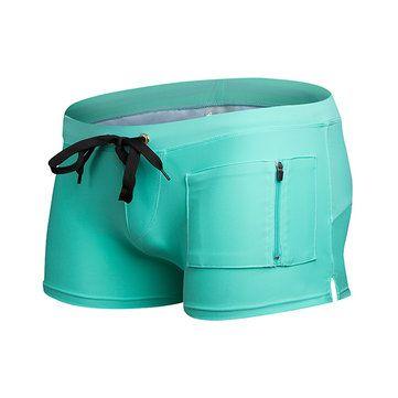 AUSTiNBEM Mens Solid Color Fashion Beach Swimming Zipper Pocket Beach Shorts Casual Trunks at Banggood