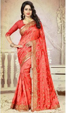 Tomato Color Art Silk Embroidery Party Saree | FH586486346 Sale up to 19% off end in 31 July Hurry Follow us @Heenastyle