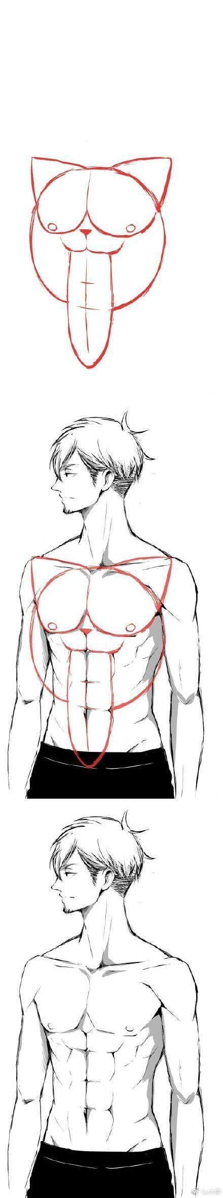 Well, that's... one way to draw abs. -- Drawing tools, inspiration, creativity, tutorial, step by step, guide, how to, pose, handsome and attractive man, hot male, torso, muscular