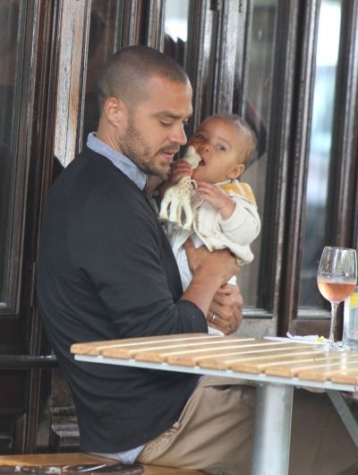 Jessie Williams and baby girl....I wanted him for myself, but I guess I can accept the fact he is married...with a baby...pretty pretty baby...