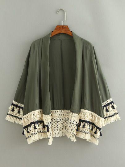Kimono avec franges - vert
