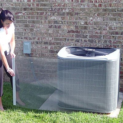 Kleen-Screen™ Air Conditioner Coil Filter  --  improve energy efficiency; protect A/C unit from 95% of most debris that can clog your air conditioner condensor.  Easy one-person installation.  Dust to clean.  About $30.00.
