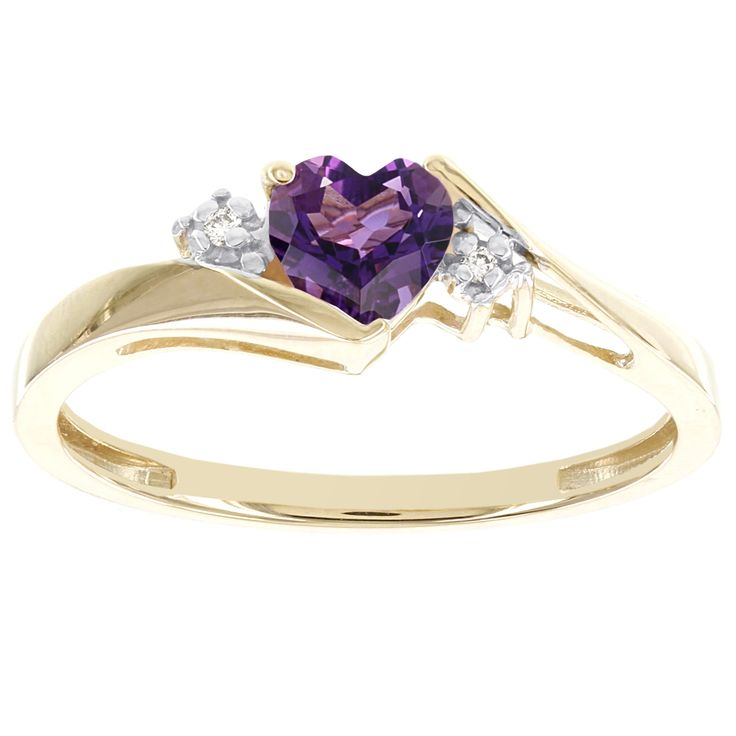 H Ster 10k Gold Sweetheart Amethyst and Diamond Accent Ring