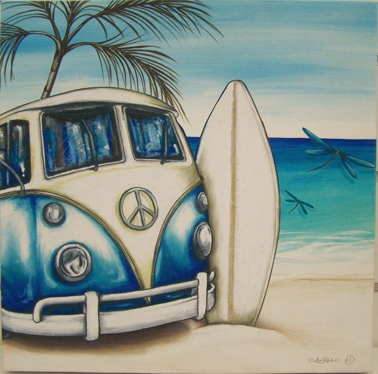 pollock art blue kombi and beach canvas print wall art 30cm x 30cm