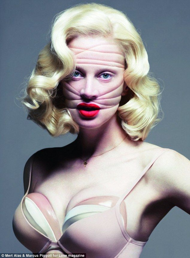 Kristen McMenamy for Love magazine  Great concept shot of plastic surgery
