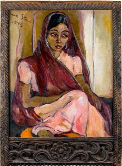 Irma Stern's painting of an Indian woman in a saree. Zanzibar, early 20th century.