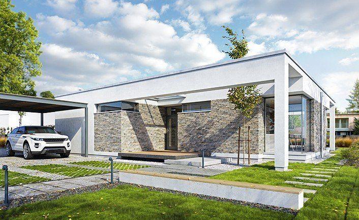 Parterowy 2 - wizualizacja 1 - Projekt małego energooszczędnego domu z płaskim dachem