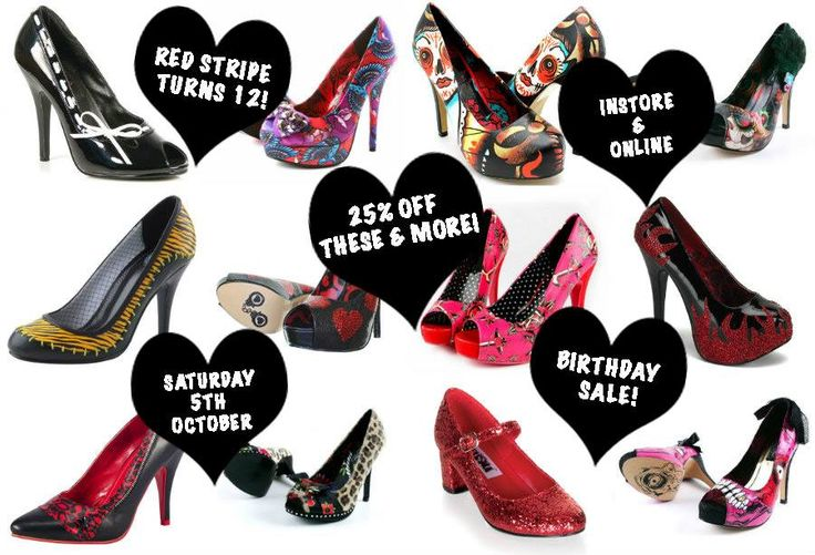 On Saturday 5th October Red Stripe turns 12 years old, so we're having a MEGA-SHOE-SALE!!!!   Come visit us on Saturday 5th and Sunday 6th of October and help us celebrate - for this weekend only we are MARKING DOWN HEAPS OF SHOES INSTORE AND ONLINE!   Visit the SALE SECTION of our website to see end of line markdowns and clearance items.   http://www.redstripeclothing.com/on_sale/